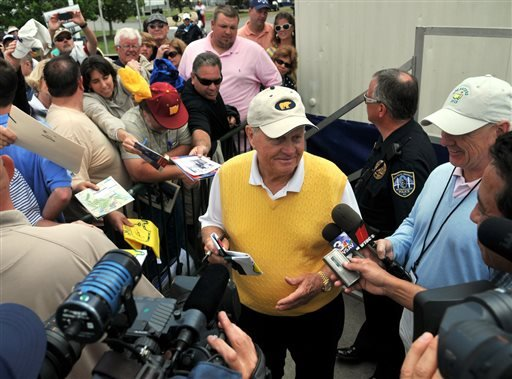 Jack Nicklaus talks to reporters and signs autographs following his final round for the Demaret Division at the Liberty Mutual Insurance Legends of Golf tournament on Tuesday, April 23, 2013, in Savannah, Ga. (AP Photo/The Morning News, Richard Burkhart)