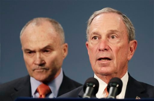 New York City Police Commissioner Raymond Kelly, left, and Mayor Michael Bloomberg hold a news conference, Thursday, April, 25, 2013 in New York.