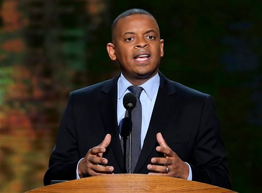In this Sept. 4, 2012 file photo, Charlotte Mayor Anthony Foxx addresses the Democratic National Convention in Charlotte, N.C. President Barack Obama on Monday will nominate Foxx as his new transportation secretary, a White House official said Sunday.