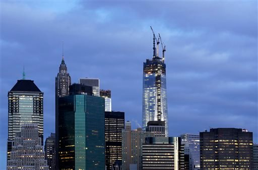 One World Trade Center rises above the lower Manhattan skyline, April 13, 2013 in New York.