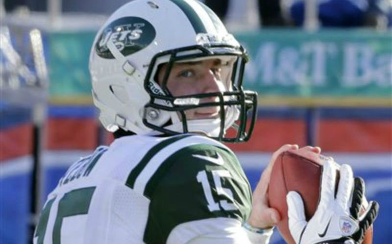 In this Sunday, Dec. 30, 2012 photo, New York Jets quarterback Tim Tebow (15) warms up before an NFL football game against the Buffalo Bills in Orchard Park, N.Y. The New York Jets say, Monday, April 29, 2013, they have waived Tebow.