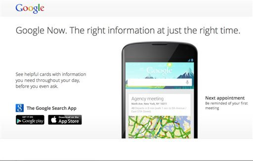 "This undated image made available by Google shows ""Google Now."" Google is trying to upstage Siri, the sometimes droll assistant that answers questions and helps people manage their lives on Apple's iPhone and iPad. (AP)"