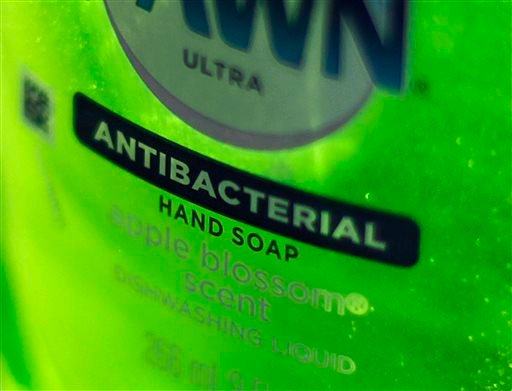 This Tuesday, April 30, 2013, photo, shows Dawn Ultra antibacterial soap in a kitchen Tuesday in Chicago. (AP)
