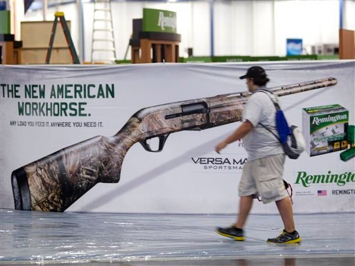 Exhibitors began setting up in preparation The National Rifle Association Annual Meetings on Wednesday, May 1, 2013, in Houston. The 2013 NRA Annual Meetings and Exhibits is scheduled to being Friday. (AP Photo/Houston Chronicle, Johnny Hanson)