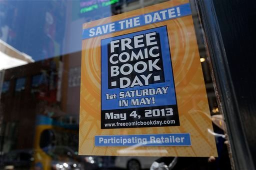 Displayed are comics set asside for Free Comic Book Day at Brave New Worlds, Wednesday, May 1, 2013, in Philadelphia.
