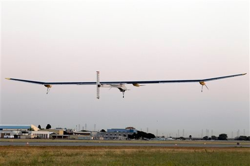 The Solar Impulse plane takes off on a multi-city trip across the United States from Moffett Field NASA Ames Research Center in Mountain View, Calif., Friday, May 3, 2013. (AP)