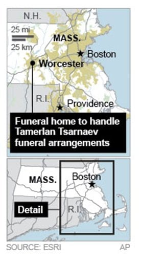 Map locates Boston funeral home associated with Boston Marathon bombing.