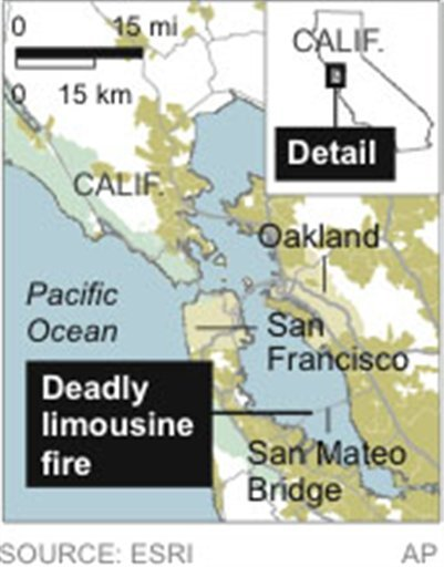 Map locates a deadly limousine fire near San Francisco.