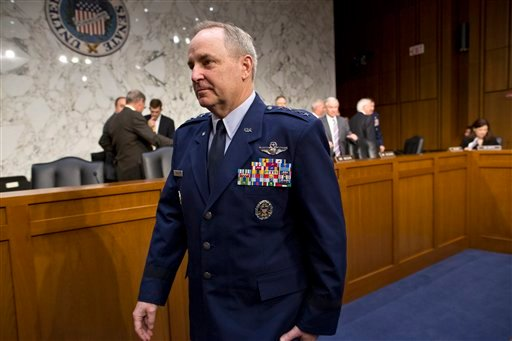 Air Force Chief of Staff Gen. Mark A. Welsh III arrives as the Senate Armed Services Committee hears from top officials of the Air Force at a hearing on Capitol Hill in Washington, Tuesday, May 7, 2013.