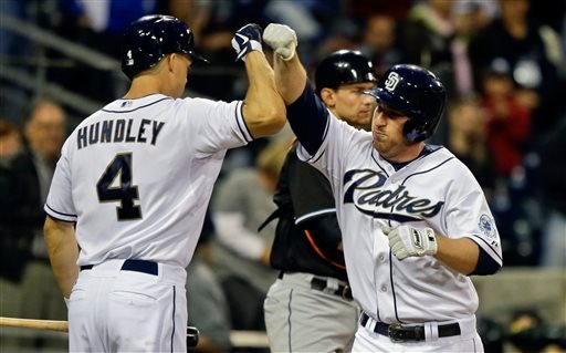San Diego Padres' Jedd Gyorko bumps arms with Nick Hundley after hitting a solo homer against the Miami Marlins in the second inning of a baseball game in San Diego, Monday, May 6, 2013. (AP Photo/Lenny Ignelzi)