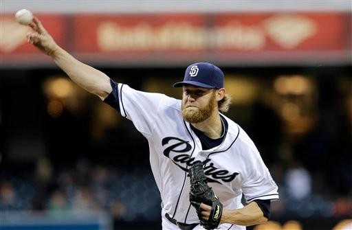 San Diego Padres starter Andrew Cashner releases a pitch against the Miami Marlins in the first inning of a baseball game in San Diego, Monday, May 6, 2013. (AP Photo/Lenny Ignelzi)