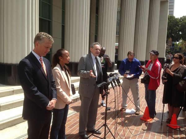 The family of Rebecca Zahau talks to the media Wednesday, May 8, 2013.