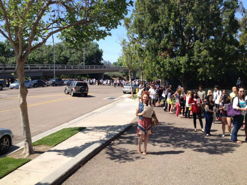 "Thousands line up outside the DoubleTree Mission Valley for the ""Anchorman 2"" audition."