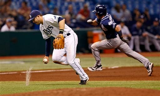 Tampa Bay Rays third baseman Evan Longoria, left, fields a ball hit by San Diego Padres' Everth Cabrera as Chris Denorfia rounds the bases behind him during the fourth inning of an interleague baseball game, Friday, May 10, 2013, in St. Petersburg, Fla.