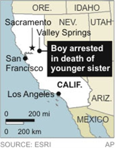 Map locates Valley Springs, California, where a 12-year-old is arrested in the stabbing of his sister.