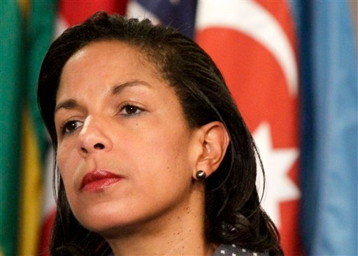 This June 7, 2012 file photo shows U.S. Ambassador to the U.N. Susan Rice listening during a news conference at the UN.