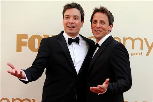 This Sept. 18, 2011 file photo shows Jimmy Fallon, left, and Seth Meyers at the 63rd Primetime Emmy Awards in Los Angeles.