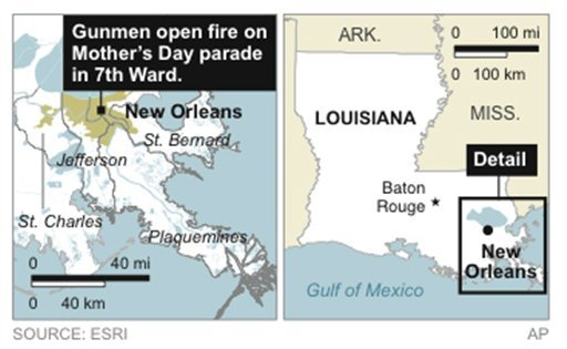 Map locates News Orlean's 7th Ward, where gunmen opened fire on a Mother's Day neighborhood parade.
