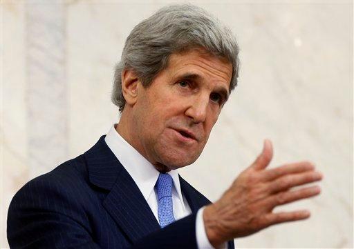 U.S. Secretary of State John Kerry speaks, during a news conference with Swedish Prime Minister Fredrik Reinfeldt, not pictured, in Stockholm, Sweden, Tuesday, May 14, 2013.