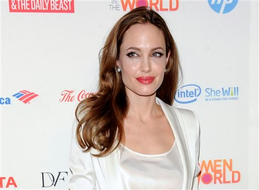 his March 8, 2012 file photo shows actress Angelina Jolie at the Women in the World Summit in New York.