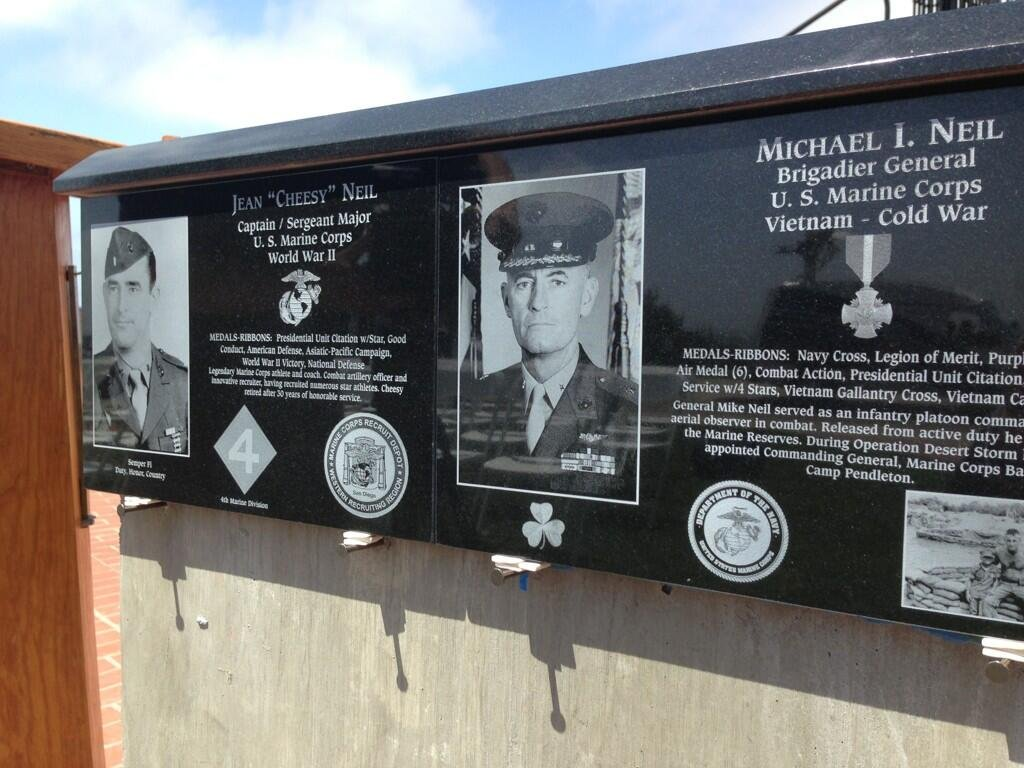 Mt. Soledad Veterans Memorial honors a father and son with side by side plaques. Photo: News 8's Jeff Zevely