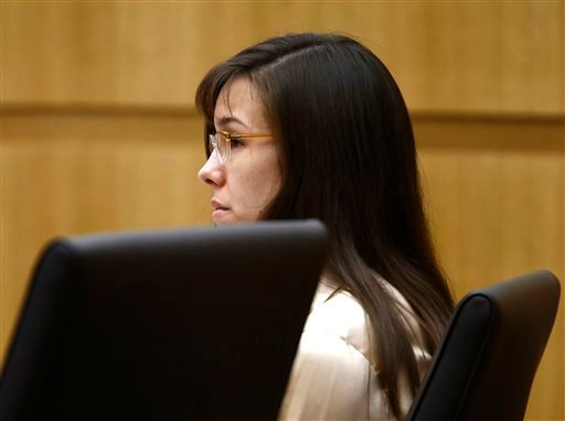 Jodi Arias listens to prosecutor Juan Martinez address the jury on Wednesday, May 15, 2013, during the sentencing phase of her trial at Maricopa County Superior Court in Phoenix. (AP Photo/The Arizona Republic, Rob Schumacher, Pool)