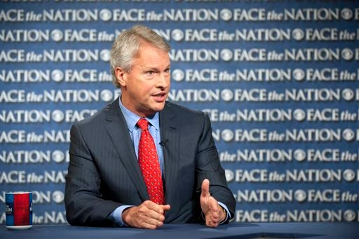 "In this Sunday, May 19, 2013 photo, Gary Pruitt, the President and CEO of the Associated Press, discusses the leak investigation that led to his reporters' phone records being subpoenaed by the Justice Department on CBS's ""Face the Nation."""