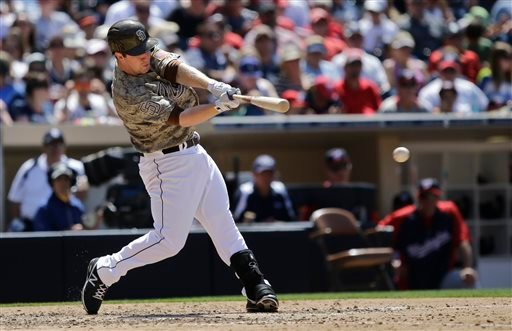 San Diego Padres' Jedd Gyorko gets a base hit to left to drive in a run during the Padres' four-run fifth inning against the Washington Nationals during a baseball game in San Diego, Sunday, May 19, 2013. (AP Photo/Lenny Ignelzi)