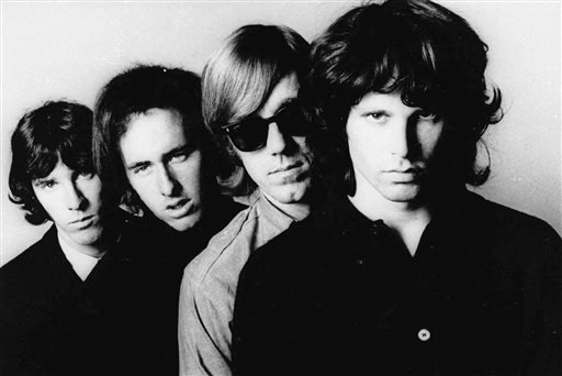 In this undated publicity file photo, members of the Doors, from left, John Densmore, Robbie Krieger, Ray Manzarek and Jim Morrison, pose for a portrait.