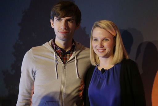 Yahoo CEO Marissa Mayer, and Tumblr Chief Executive David Karp speak during a news conference Monday, May 20, 2013, in New York.