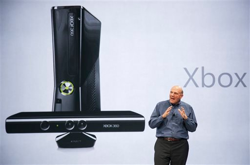 In this June 18, 2012 photo, Microsoft CEO Steve Ballmer comments on Microsoft Xbox before unveiling its new Surface, a tablet computer to compete with Apple's iPad at Hollywood's Milk Studios in Los Angeles.