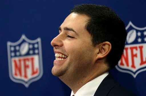 San Francisco 49ers football team CEO Jed York reacts during a news conference at the NFL spring meeting in Boston, Tuesday, May 21, 2013, discussing their successful bid to host Super Bowl 2016. (AP Photo/Elise Amendola)