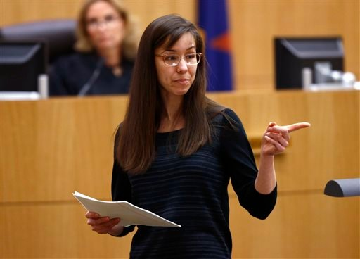 Jodi Arias points to her family as a reason for the jury to give her a life in prison sentence instead of the death penalty on Tuesday, May 21, 2013. (AP Photo/The Arizona Republic, Rob Schumacher, Pool)