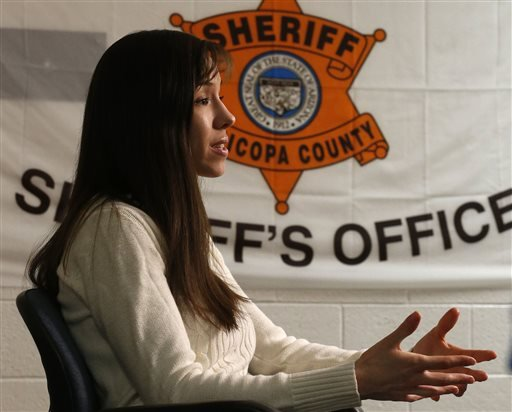 Convicted killer Jodi Arias makes a point as she answers a question during an interview at the Maricopa County Estrella Jail on Tuesday, May 21, 2013, in Phoenix. (AP Photo/Ross D. Franklin)