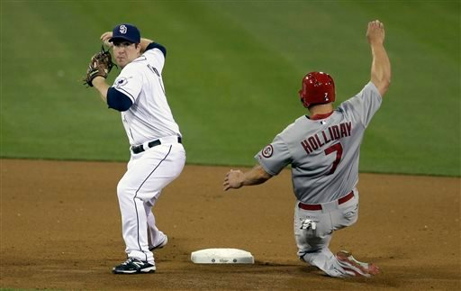 San Diego Padres second baseman Jedd Gyorko, left, throws to first to complete the double play as St. Louis Cardinals' Matt Holliday, right, slides in late during the fifth inning of their baseball game May 22, 2013, in San Diego. (AP Photo/Gregory Bull)