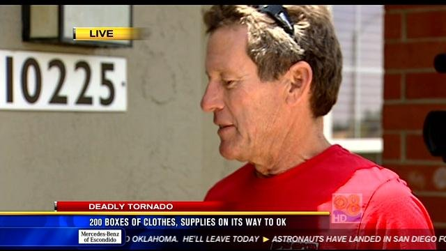 The man (see in this video screen image) who volunteered to drive the donations to Oklahoma, arrived in Tierrasanta just after 11 a.m. Thursday, May 23, 2013.