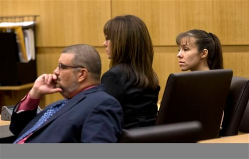 Jodi Arias, right, and her defense attorneys Jennifer Wilmott and Kirk Murmi, left, listen as Judge Stephens urges the jury to continue deliberating after they delivered a message they are deadlocked. (AP Photo/The Arizona Republic, Rob Schumacher, Pool)