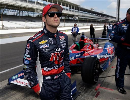 IndyCar driver Marco Andretti waits in the pit area before the start of the final practice session for the Indianapolis 500 auto race at the Indianapolis Motor Speedway in Indianapolis, Friday, May 24, 2013. (AP Photo/Darron Cummings)