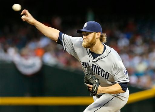 San Diego Padres pitcher Andrew Cashner delivers against the Arizona Diamondbacks during the first inning of a baseball game on Saturday, May 25, 2013, in Phoenix. (AP Photo/Matt York)