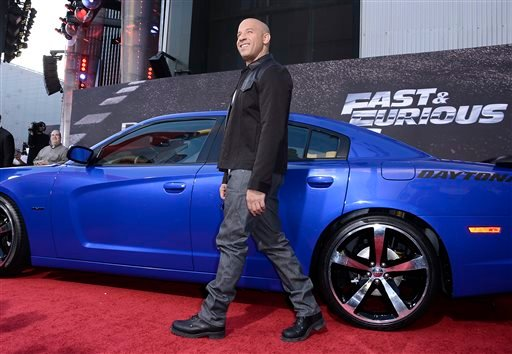 "Actor Vin Diesel arrives at the LA Premiere of the ""Fast & Furious 6"" at the Gibson Amphitheatre on Tuesday, May 21, 2013 in Universal City, Calif. (Photo by Dan Steinberg/Invision/AP)"