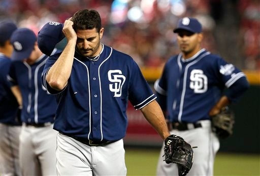 San Diego Padres' Jason Marquis throws against the Arizona Diamondbacks in the first inning of a baseball game on Sunday, May 26, 2013, in Phoenix. (AP Photo/Ross D. Franklin)
