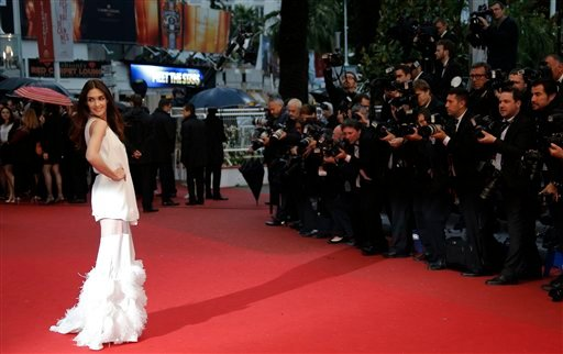 Actress Paz Vega poses for photographers as she arrives for the screening of the film Jimmy P. Psychotherapy of a Plains Indian at the 66th international film festival, in Cannes, southern France, Saturday, May 18, 2013. (AP Photo/Francois Mori)