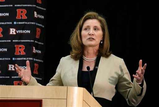 FILE - In this Wednesday, May 15, 2013 file photo, Julie Hermann speaks during a news conference where she was introduced as the new athletic director at Rutgers University, in Piscataway, N.J. (AP)