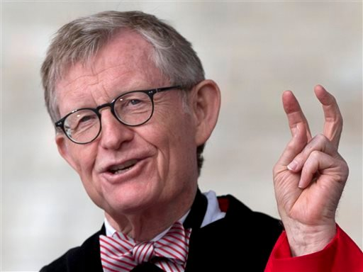 In this Sunday, May 5, 2013 photo, Ohio State president E. Gordon Gee speaks during the Ohio State University spring commencement in Columbus, Ohio. (AP)