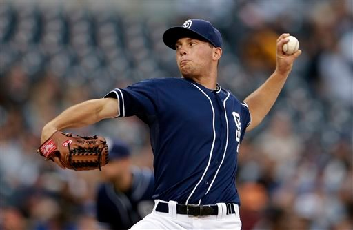 San Diego Padres starting pitcher Robbie Erlin works against the Toronto Blue Jays during the first inning in an interleague baseball game, Saturday, June 1, 2013, in San Diego. (AP Photo/Gregory Bull)