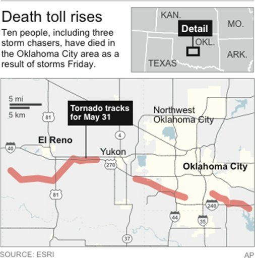 Map shows tornado track in May 2013.