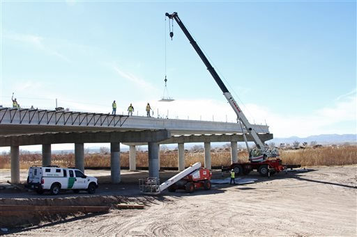 A Border Patrol truck is seen the at the Tornillo-Guadalupe border bridge construction in Tornillo, Texas, Friday, Jan. 18, 2013.