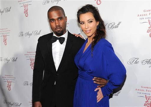 In this Oct. 22, 2012 file photo Singer Kanye West and girlfriend Kim Kardashian attend Gabrielle's Angel Foundation 2012 Angel Ball cancer research benefit at Cipriani Wall Street in New York.
