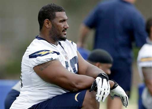 San Diego Chargers tackle Max Starks stretches during an NFL football practice at the Chargers training facility Monday, June 3, 2013, in San Diego. Starks spent nine seasons with the Steelers before recently signing with the Chargers as a free agent.