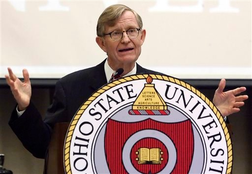 FILE - In this July 12, 2007, file photo, Gordon Gee speaks after being named Ohio State University's 14th president during a news conference in Columbus, Ohio. (AP)